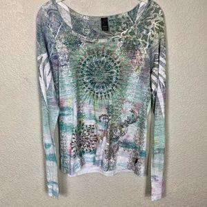 PrAna L/S Boho Pattern Tee T Shirt - Large